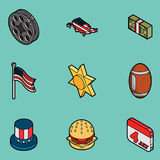 Van het de kleurenoverzicht van Amerika de isometrische pictogrammen Royalty-vrije Stock Afbeeldingen
