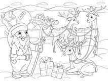 Van het de kleuringsbeeldverhaal van kinderen de dierlijke vrienden in aard De Kerstman op de het noordenpool naast aren en magis royalty-vrije illustratie