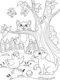 Van het de kleuringsbeeldverhaal van kinderen de dierenvrienden in aard Eendje, puppy en katje Eend, hond en kat Stock Foto's