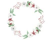 Van het de Kroonbloemstuk van waterverfkerstmis Slinger van Jolly Floral Hand Painted Holidays de Feestelijke Stock Fotografie