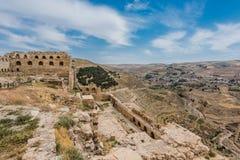 Van het de kruisvaarderkasteel van Al Karak kerak de vesting Jordanië Stock Fotografie