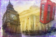Van het de kunstontwerp van Londen retro de illustratiewijnoogst Royalty-vrije Stock Foto's