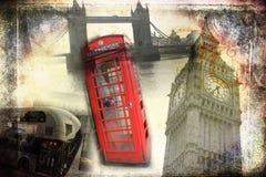 Van het de kunstontwerp van Londen retro de illustratiewijnoogst Stock Foto's