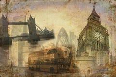 Van het de kunstontwerp van Londen retro de illustratiewijnoogst Stock Foto