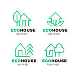 Van het de lijnembleem van het Eco Groene Huis moderne vector het ontwerpreeks Stock Foto's