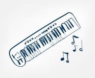 Van het de lijnontwerp van de synthesizerschets de muziekinstrument vector illustratie