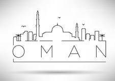 Van het de Lijnsilhouet van Oman het Typografische Ontwerp Royalty-vrije Stock Afbeeldingen