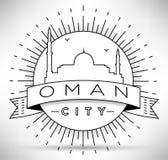 Van het de Lijnsilhouet van Oman het Typografische Ontwerp Stock Afbeeldingen