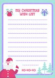 Van het de lijstmalplaatje van de Kerstmiswens vlakke de kleurenstijl met de Kerstman, giften, boom Stock Afbeeldingen