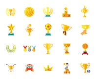 Van het de medaillekenteken van de trofeetoekenning van de de sterwinnaar van de het succeskampioen het pictogram vastgestelde ve royalty-vrije stock fotografie