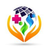 Van het de mensen gezond leven van de bol medisch gezondheidszorg dwars van het de zorgembleem het ontwerppictogram op witte acht vector illustratie