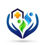 Van het de mensen gezond leven van de bol medisch gezondheidszorg dwars van het de zorgembleem het ontwerppictogram op witte acht royalty-vrije illustratie