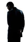 Van het de mensenportret van het silhouet de droevige eenzame wanhoop Royalty-vrije Stock Afbeelding