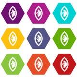 Van het de meterpictogram van de handmacht de vastgestelde kleur hexahedron Stock Foto