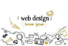 Van het de ontwikkelingsconcept van het Webontwerp van de de schetskrabbel horizontale geïsoleerde het exemplaarruimte royalty-vrije illustratie