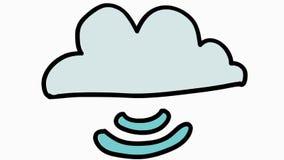 Van het de opslagbeeldverhaal van de wolkenserver transparante de illustratiehand getrokken animatie stock video