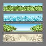 Van het de palmthema van banneradvertenties de vectorillustratie Stock Foto