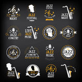 Van het de partijembleem en kenteken van de jazzmuziek ontwerp Vector met grafisch Royalty-vrije Stock Foto's