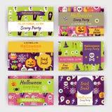 Van het de Partijmalplaatje van Halloween Vector de Uitnodigings Moderne Vlakke Reeks Stock Afbeeldingen