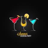 Van het de partijontwerp van de cocktailzomer het menuachtergrond Stock Foto