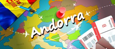 Van het de reisconcept van Andorra de kaartachtergrond met vliegtuigen, kaartjes De reis van bezoekandorra en het concept van de  stock illustratie