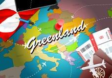 Van het de reisconcept van Groenland de kaartachtergrond met vliegtuigen, kaartjes De reis van bezoekgroenland en het concept van vector illustratie