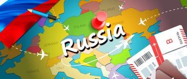 Van het de reisconcept van Rusland de kaartachtergrond met vliegtuigen, kaartjes De reis van bezoekrusland en het concept van de  stock illustratie