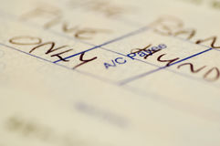 Van het de rekeningsboek van de cheque dichte omhooggaand Royalty-vrije Stock Foto