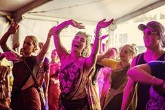 Van het de Rotsfestival van Woodstockpolen de vierende bezoekers stock fotografie
