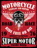Van het de Schedelt-stuk van de motorfietsaffiche het Grafische Ontwerp Royalty-vrije Stock Afbeelding