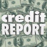 Van het de Scoregeld van het kredietrapport het Contante geld 3d Woorden Als achtergrond Royalty-vrije Stock Foto's