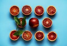 Van het de Sinaasappelenfruit van de bloedcitrusvrucht het Patroonachtergrond Stock Afbeeldingen