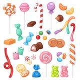 Van het de snoepjessuikergoed van de beeldverhaal zoete bonbon van het de jonge geitjesvoedsel de snoepjes megainzameling die op  royalty-vrije illustratie
