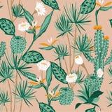 Van het de stemmings Naadloze patroon van de goedzakpastelkleur vector tropisch, bloem, vogel stock illustratie