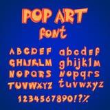 Van het de stijlalfabet van de pop-artstrippagina de inzamelingsreeks kapitaal en kleine letters met aantallen vector abc in retr Stock Fotografie