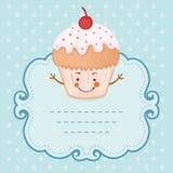 Van het de stijlkader van de theekransjeuitnodiging uitstekende grappige cupcake Stock Foto's