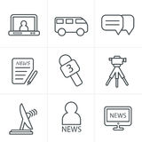 Van het de Stijlnieuws van lijnpictogrammen de verslaggeverspictogrammen Stock Afbeeldingen