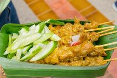 Van het de straatvoedsel van Thailand de barbecuevarkensvlees Stock Fotografie