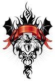 Van het de tatoegeringscijfer van de duivel het de stammenzwarte en rood Stock Foto