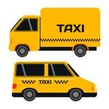 Van het de taxivervoer van de stadsweg de gele vectorillustratie Stock Fotografie