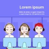 Van het de technische ondersteuningdienst of Telemarketing de Vrouwen van Call centrearbeiders met Computers over Exemplaarruimte vector illustratie