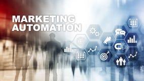 Van het de Technologieproces van de Marketingautomatiseringsoftware van het Bedrijfs systeeminternet concept Gemengde media achte vector illustratie