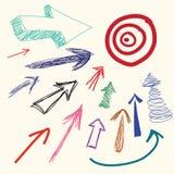 Van het de tekeningsbeeldverhaal van de hand de krabbelpijl Royalty-vrije Stock Foto's