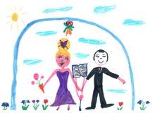Van het de tekeningshuwelijk van kinderen de mannen en de vrouw Royalty-vrije Stock Foto