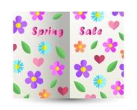 Van het de tekst vectorontwerp van de de lenteverkoop de kaartdocument verwijderd boek met spri stock illustratie