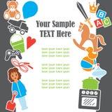 Van het de Tekstmalplaatje van het kinderenspeelgoed het Kaderkaart, Vectorillustratie Stock Foto