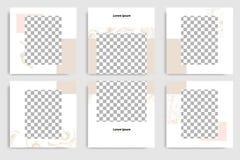 Van het de textuurpatroon van de Editable post het ononderbroken tekendriehoek abstracte marmeren de bannermalplaatje voor social stock illustratie