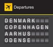 Van het de tikalfabet van Denemarken de luchthavenvertrek, Kopenhagen, Aashus, Odense Stock Afbeeldingen