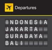 Van het de tikalfabet van Indonesië de luchthavenvertrek, Indonesië, Djakarta, Surabaya, Bali Royalty-vrije Stock Afbeelding