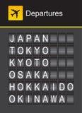Van het de tikalfabet van Japan de luchthavenvertrek, Japan, Tokyo, Kyoto, Osaka, Hokkaido, Okinawa Stock Afbeeldingen